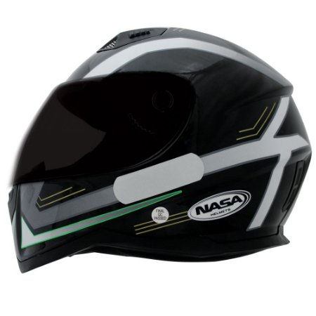 Capacete Nasa SH-881 Elegance - Preto, Branco e Verde