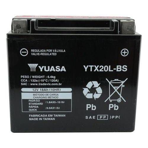 Bateria Yuasa Ytx20l-bs  12v - 18ah yamaha Xvz1300/harley Davidson Flst/fxd/kawasaki/jet Ski