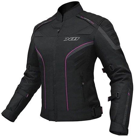 Jaqueta Motociclista X11 Iron 2 Feminina Impermeável Preta/ Rosa