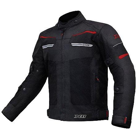 Jaqueta X11 Motociclista Breeze Ventilada Preta e Vermelha