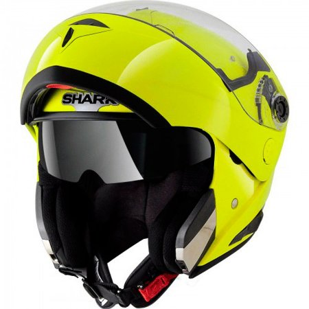 Capacete Shark Openline Hi Visibility Yellow Yky Articulado com viseira solar
