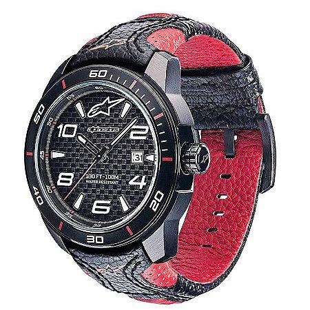 Relógio Alpinetar Tech Com Pulseira De Couro Preto E Vermelho