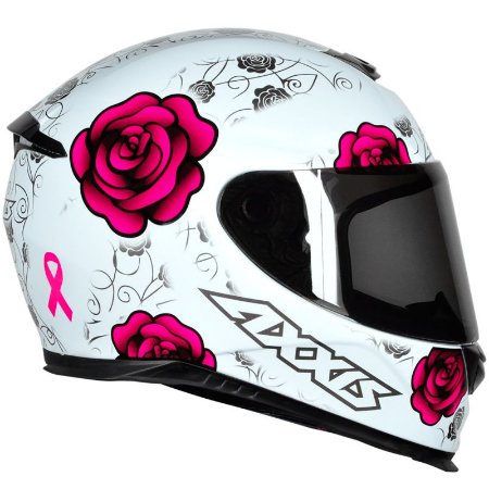 CAPACETE AXXIS EAGLE FLOWERS BRANCO/ROSA