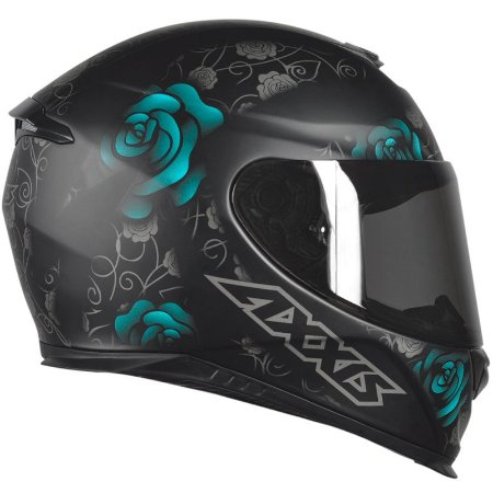 Capacete Axxis Eagle Flowers Preto Fosco/ Tifany