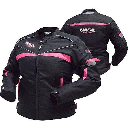 Jaqueta De Moto Feminina Nasa Laguna Preta e Rosa