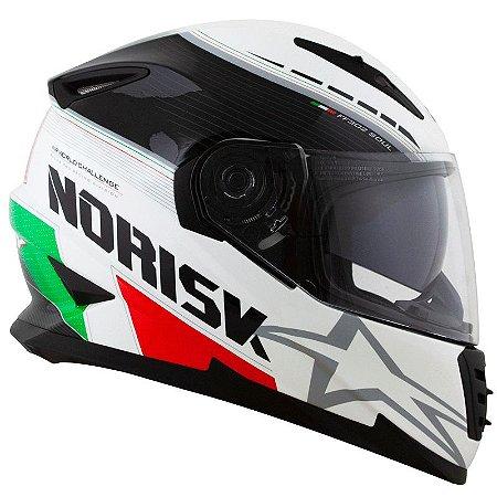 Capacete Norisk Ff302 Grand Prix Italia (C/Viseira Solar) Branco/Verde/Vermelho