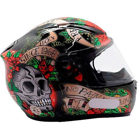 Capacete Mt Revenge Skull & Roses Preto/Vermelho