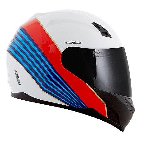 Capacete Norisk Ff391 Dry Branco, Azul E Vermelho