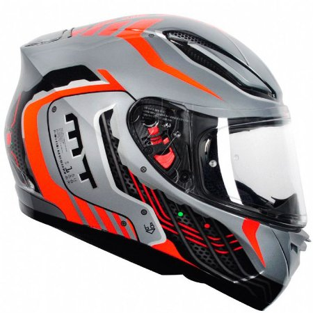 Capacete Mt Revenge Cyborg Silver-Orange