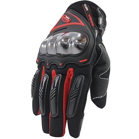 Luva De Moto Nasa Racing Shield Vermelha Motociclista