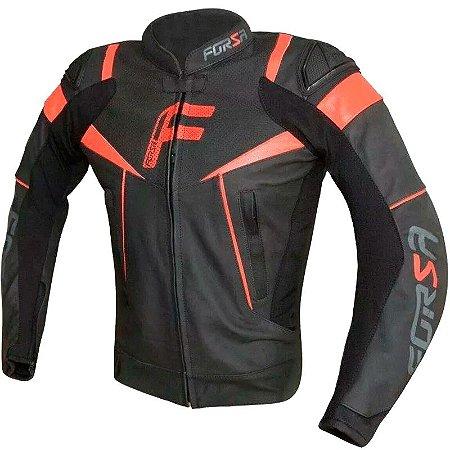Jaqueta de couro Forza Mugello Racing Preta Vermelha