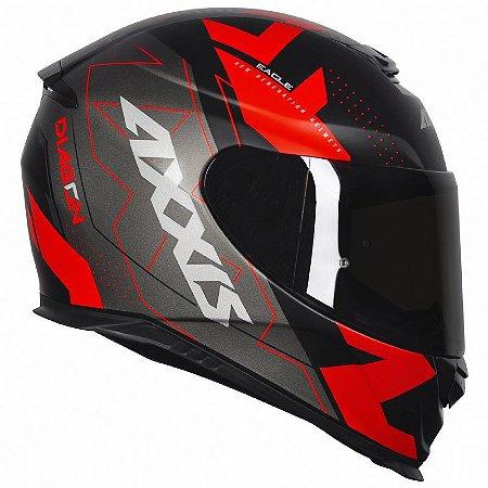 Capacete Axxis Eagle Diagon Matt Black Red