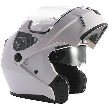 Capacete Nasa Racing Ns-1001 Branco Articulado Com Viseira Solar