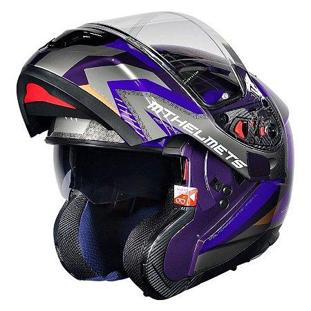 Capacete Articulado Mt Sv Atom Hybrid Purple (com viseira solar)