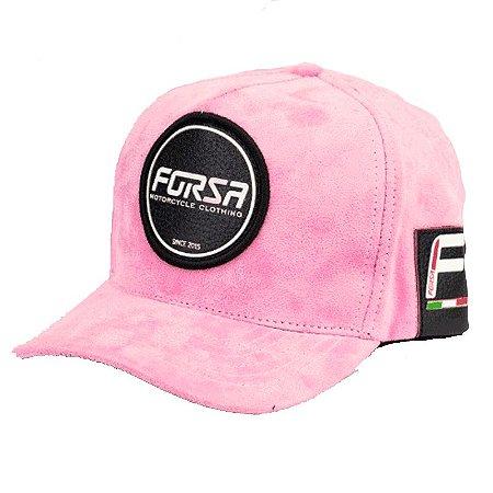 Boné Forza Logo Rosa Aveludado