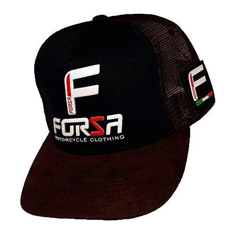 Boné Forza Logo Azul e Marron Aveludado
