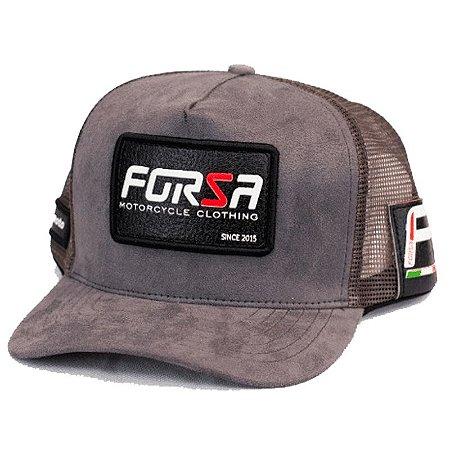 Boné Forza Logo Cinza Aveludado