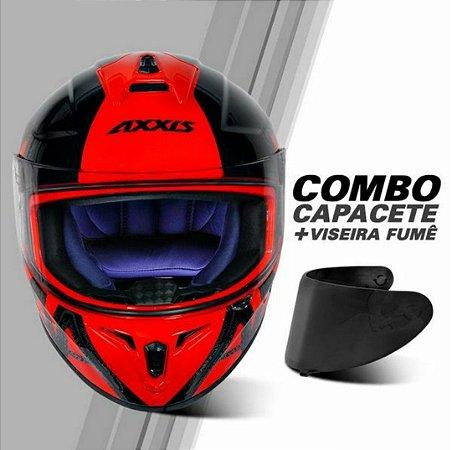 COMBO - Capacete Axxis Draken Dekers Gloss Red Black + Viseira Fume