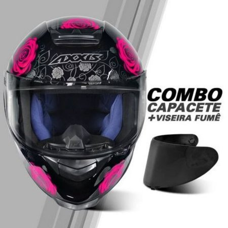 COMBO - Capacete Axxis Eagle Evo Flowers Gloss Black Pink + Viseira Fume