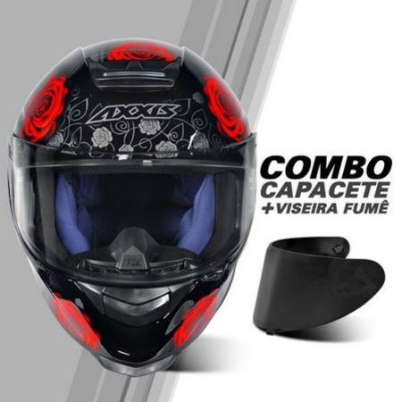 COMBO - Capacete Axxis Eagle Evo Flowers Gloss Black Red + Viseira Fume