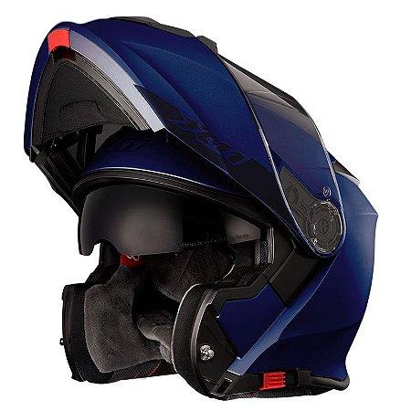 Capacete X11 Turner Solid Azul Fosco Articulado com Viseira Solar