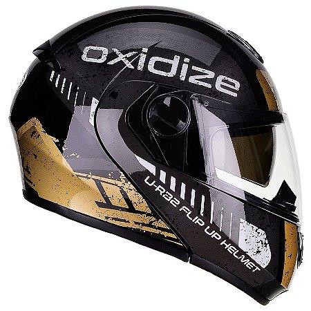 Capacete Articulado Peels U-RB2 Oxidize Preto e Dourado com viseira solar