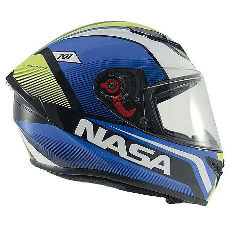Capacete Nasa Ns-701 Evolution Azul e Verde