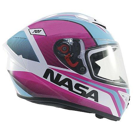 Capacete Nasa Ns-701 Evolution Rosa e Azul
