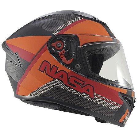 Capacete Nasa Ns-701 Racing Fosco Preto e Laranja