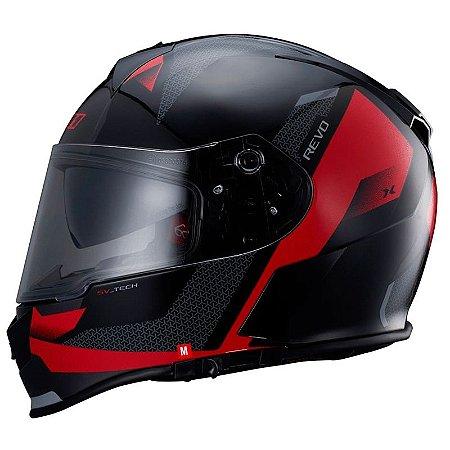 Capacete X11 Revo Vision Preto e vermelho (com viseira solar)