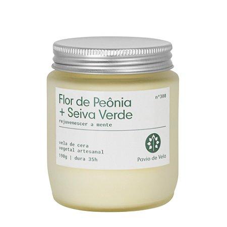 Vela Flor de Peônia + Seiva Verde| 35 horas (Refrescante)