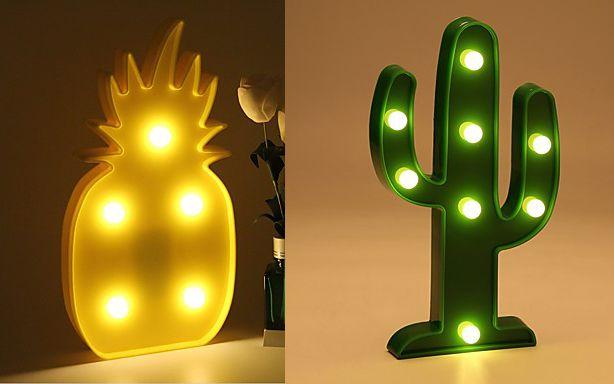 Abajur de LED 3D Abacaxi/Cacto Lâmpada Luminária de Mesa Casa e Decoração Cactus
