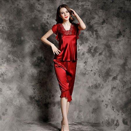 Marca Verão NEW Real Silk Mulheres Pijamas Bordado Sensuais Calças de Pijama de Seda Define Duas Peças Pijama