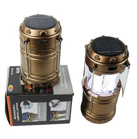Solar Zoom Rechargeable LED Camping lanterna com ganchos