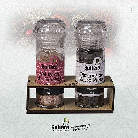 Kit Salière Sal Rosa do Himalaia + Pimenta do Reino Preta