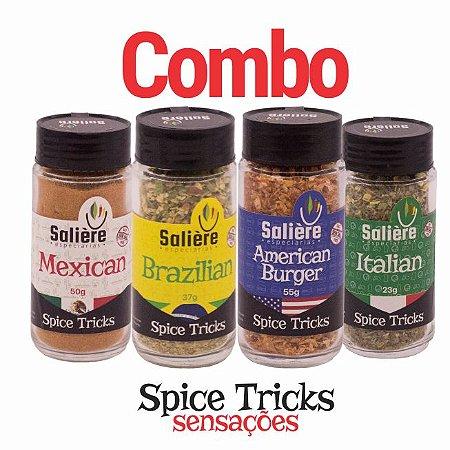 Combo Salière Spice Tricks Sensações (American Burger, Brazilian, Italian e Mexican)