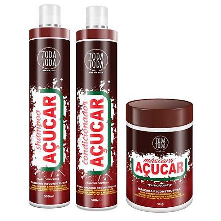 Kit Açúcar Shampoo + Condicionador + Máscara 1kg