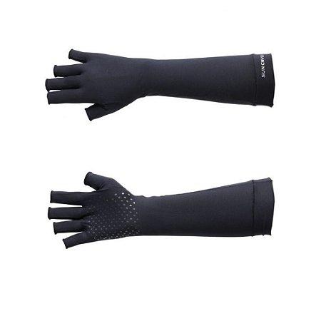 Luva Com Proteção Solar Sun Cover Longa Dedos Longos Preta
