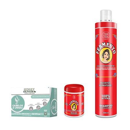 Vitamina Sidney Oliveira Cabelos e Unhas + Sh 500ml + Masc 250g Fermento