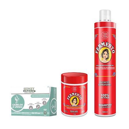 Vitamina Sidney Oliveira  Cabelos e Unhas + Sh 500ml + Masc 1k Fermento