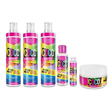 Kit Coco Shampoo + Condicionador + Leave-in + Óleo + Ampola + Máscara