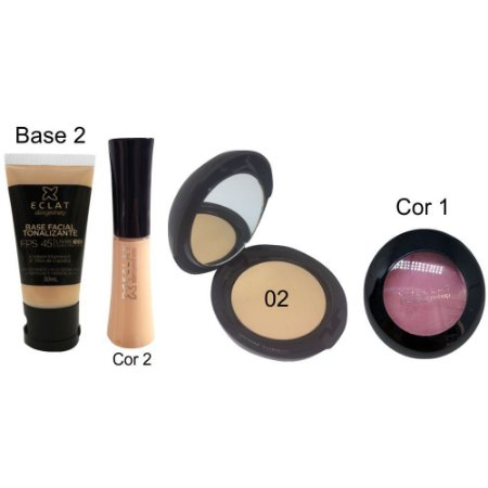 Kit de Maquiagem Hipoalergênica para Pele Completo Cor 02 Blush 1 Eclat Alergoshop