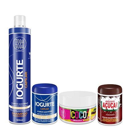 Kit Cronograma Capilar Shampoo + Máscara Iogurte + Máscara de Coco + Máscara de Açúcar