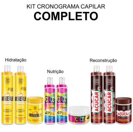 Kit Cronograma Capilar Completo - Amido de Milho Coco e Açúcar 1KG