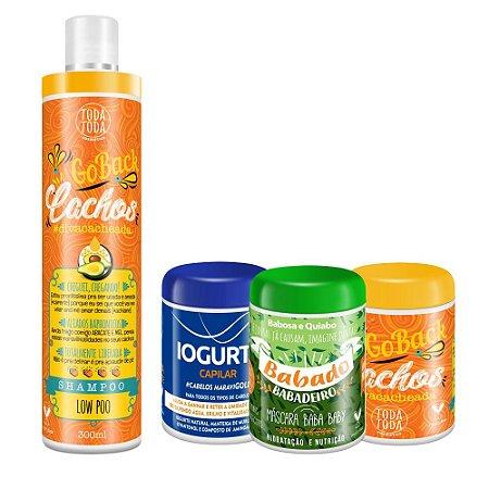 Kit Cronograma Capilar Cacheadas Shampoo + Máscara Go Back + Máscara Iogurte + Máscara Babado