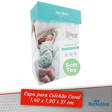 Capa para Colchão Soft Tex Casal 1,40 x 1,90 x 21 Anti Ácaros Antialérgica - Alergoshop