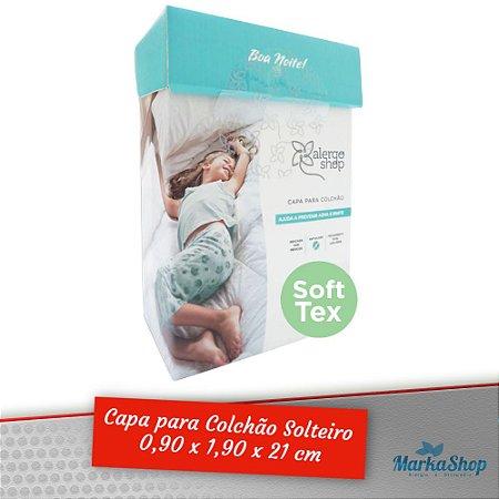 Capa para Colchão Soft Tex Solteiro 90 x 1,90 x 21 Anti Ácaros Antialérgica - Alergoshop