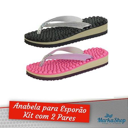 Chinelo Biriflex Mundoflex Anabela para Esporão Kit c/2 Pares Pink e Preto