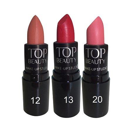 Batom Tradicional Top Beauty Kit c/3 Unidades Desconto Especial Kit 1