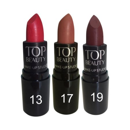 Batom Tradicional Top Beauty Kit c/3 Unidades Desconto Especial Kit 2